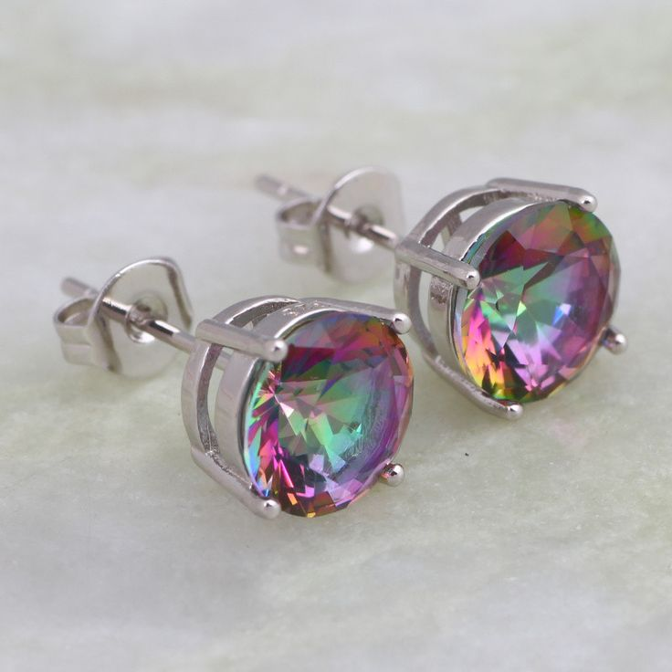 Glam Luxe Mysterious Rainbow Topaz 925 Sterling Silver Overlay Stud earrings trend Cute jewellery E243 - Silver Jewellery 925 - SHOP NOW