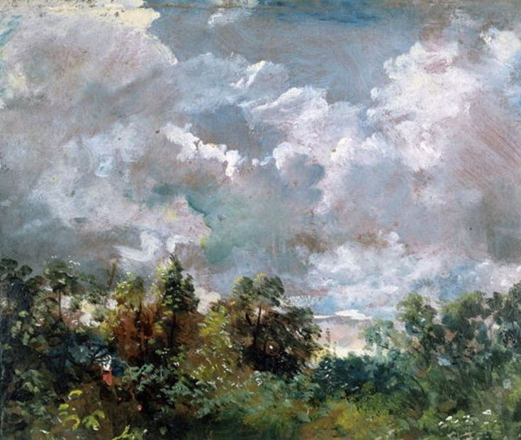 John Constable >> Clouds study with trees1  |  (Oil, artwork, reproduction, copy, painting).