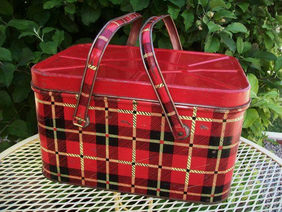 SALE  Midcentury red plaid metal picnic basket by BlueSkyLane, $29.99
