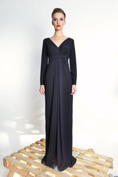 Steffany Maxi / Black - długa suknia z udrapowaniem   Milita Nikonorov oficjalny butik projektantki