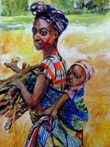 suluboya afrikalı kadın ve çocuk . 29x42 kağıt