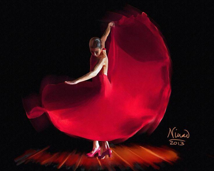 Le rouge carmin  de sa robe virevolte Ô belle andalouse !  http://short-edition.com/oeuvre/poetik/flamenco-2