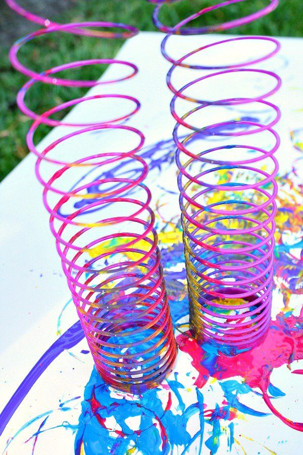 Slinky Painting With Images Art Activities Toddler