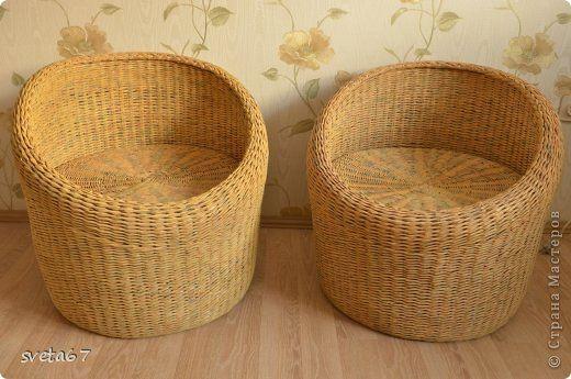 Поделка изделие Плетение Мебель для дачи Трубочки бумажные фото 1