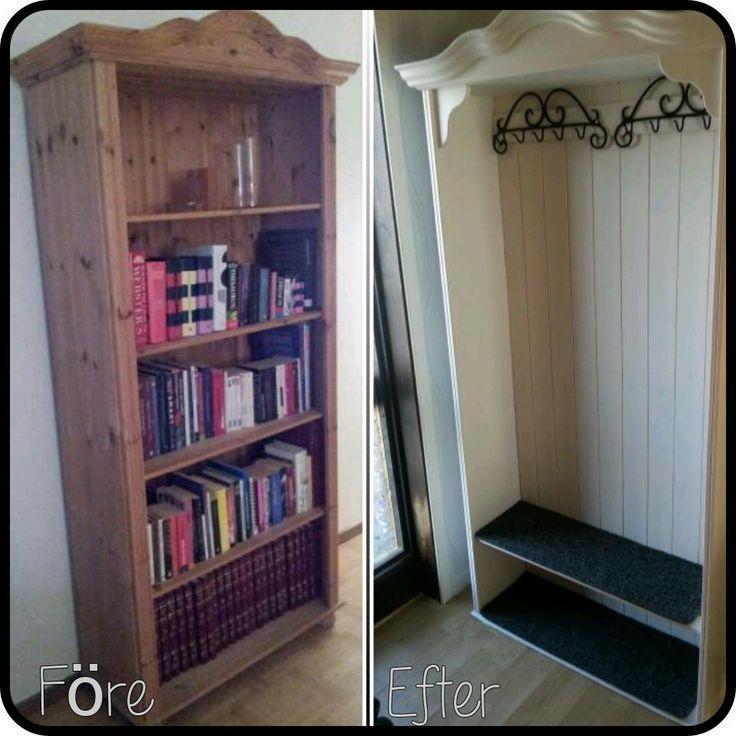 En äldre brun bokhylla blev ett vitt klädskåp i hallen! * * Anna Simone Kristoffersson på Facebook Återbruka mera!