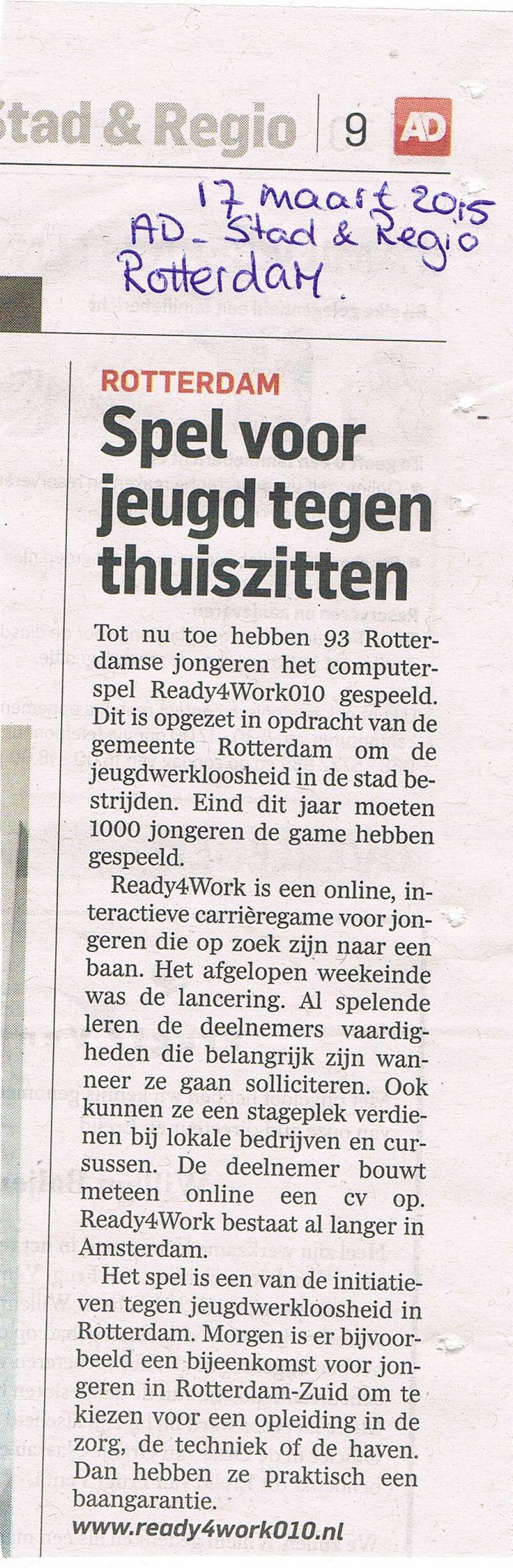 Spel voor jeugd tegen thuis zitten | AD Rotterdams Dagblad | Ready4Work010 | Mediacoördinator Alan Bredenhorst, 125Procent