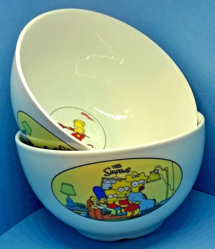 Two KELLOGGS THE SIMPSONS Round Breakfast Cereal Bowls Dated 2001 with Bart etc.