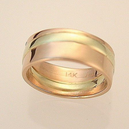 14k Green And Rose Gold Mens Wedding Band Handmade In Maine By HarvestGoldJewelry On Etsy