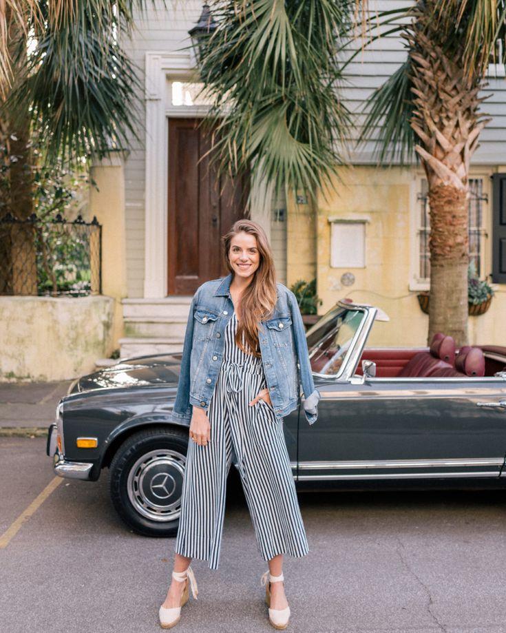 GMG Now Daily Look 1-26-18 Frame Denim jacket, MDS Striped jumpsuit, Castaner Espadrilles
