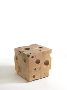 Swiss cheese wood stool by Riva 1920