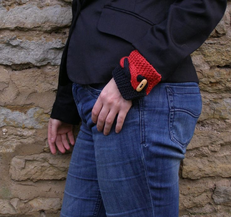 Wrist cuff bracelet ~ Red and Black knit cotton wristlet ~ Unique gift for coworker, welcome back to work present - pinned by pin4etsy.com
