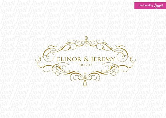 luxe bruiloft monogram-bruiloft logo-bruiloft crest-custom