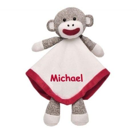 Personalized Sock Monkey Snuggle Buddy Lovie & Rattle - 12 Inch