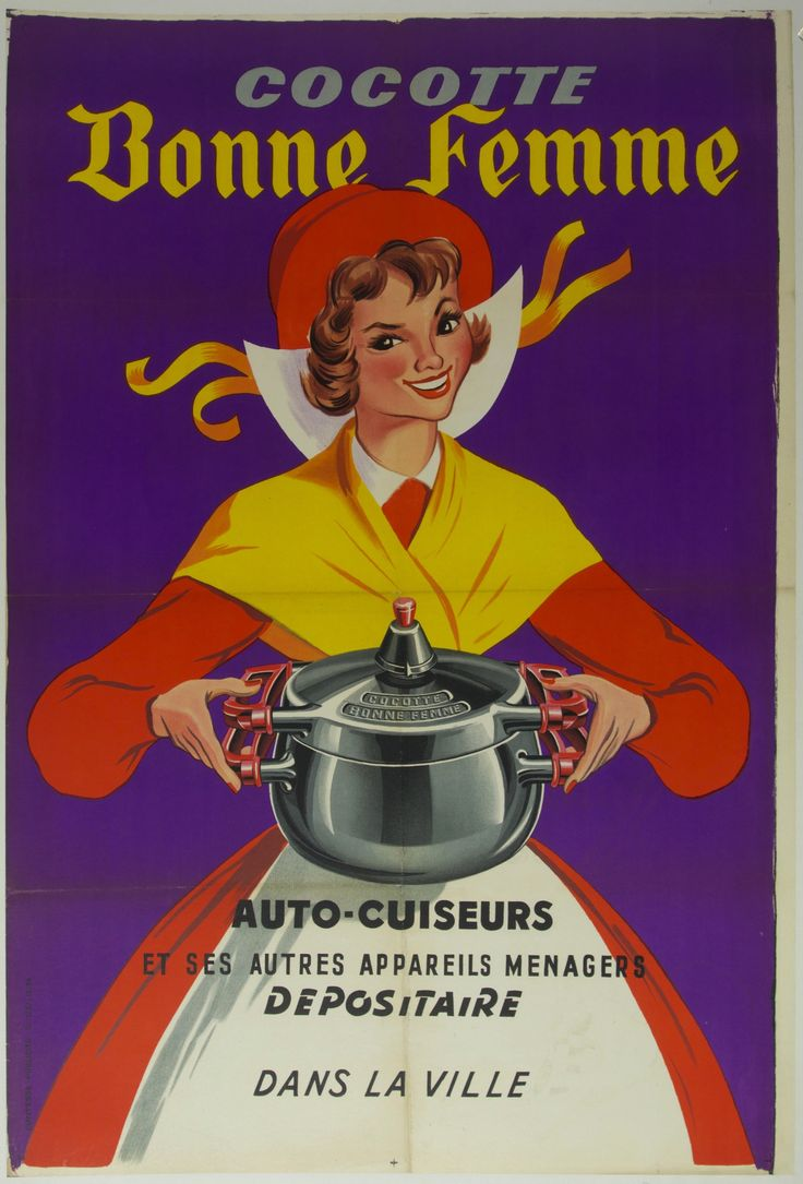 Title: Cocotte Bonne Femme / Artist: France - c. 1950 / 32 x 45 in (81 x 114 cm) / Description:  self-cookers  and other household appliances  agent  in the town
