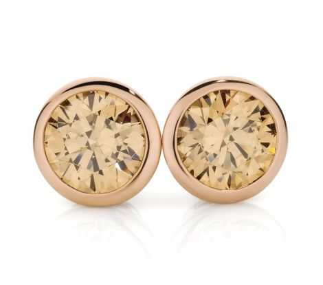 Expressions sterling silver champagne colour cubic zirconia round stud earrings with rose gold plating. EZ1