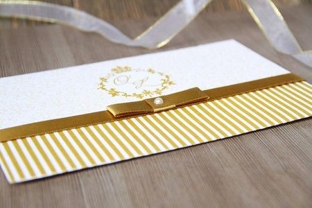 Convite de Casamento, Dourado com Listras e Fita