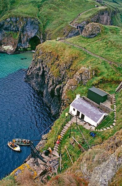 Cottage and Harbor, Carrick-a-rede, Ireland