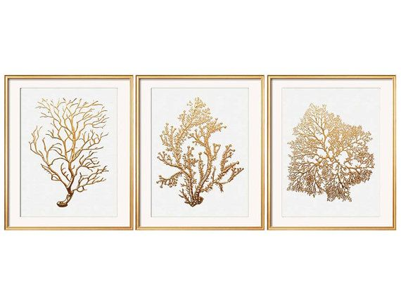 Gold Coral Print Set of Three Sea Coral Art by BeachHouseGallery, $17.00
