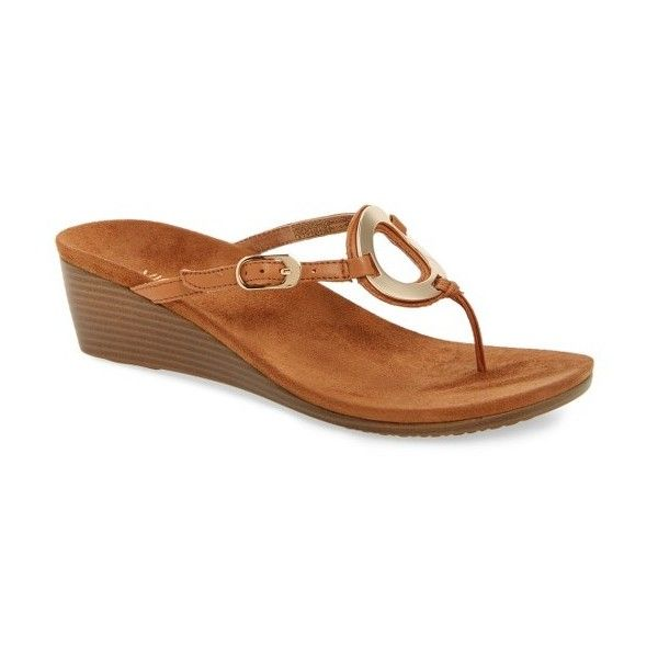 Women's Vionic Orchid Wedge Flip Flop (1,850 MXN) ❤ liked on Polyvore featuring shoes, sandals, flip flops, caramel leather, anchor shoes, wedge flip flops, vionic sandals, wedge heel flip flops and anchor sandals