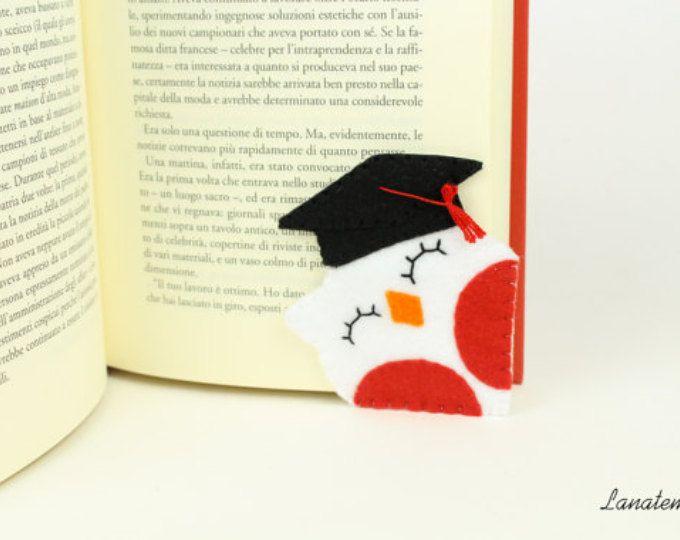 Segnalibro gufo laureato, segnalibro ad angolo, stupendo regalo per neolaureato/neolaureata, bomboniera laurea, cappello tocco da laureato