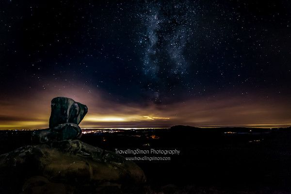 Milky Way and Light Pollution at Ramshaw Rocks and the Roaches