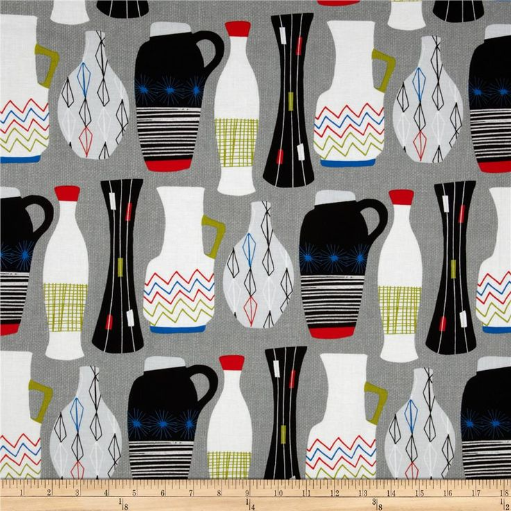 Michael Miller Jug or Not Retro Grey from @fabricdotcom From Michael Miller, this fabric is perfect for quilting, apparel and home decor accents. Colors include red, white, black, citrine, blue and grey.