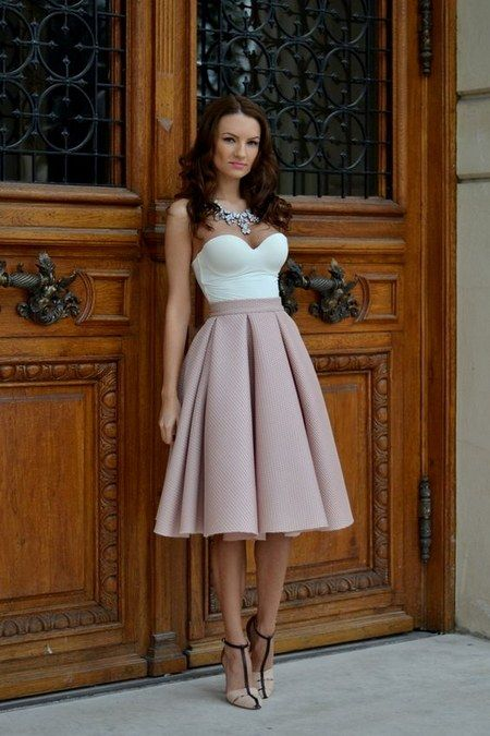 pleated midi skirt wedding guest dress