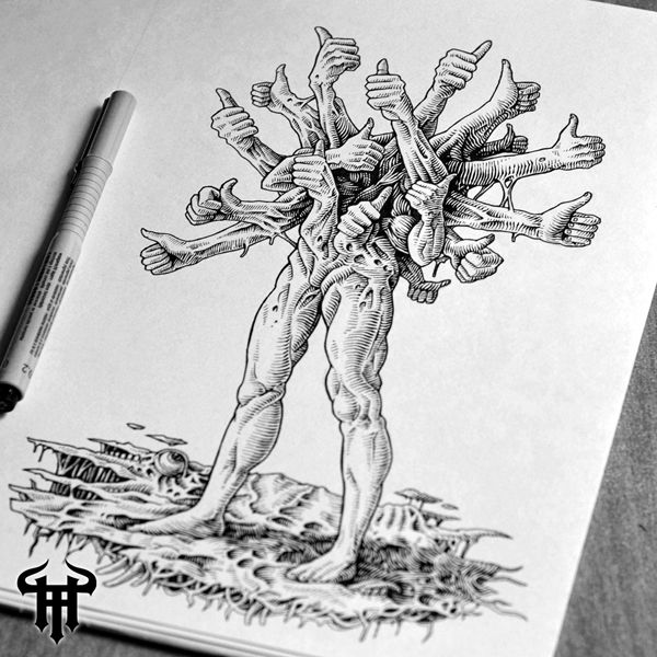 Thumbs up monster, the thing, creature, hands, ink drawing, sketchbook art, like, social media, smile, fun, death metal, character design, concept art, theoretical part