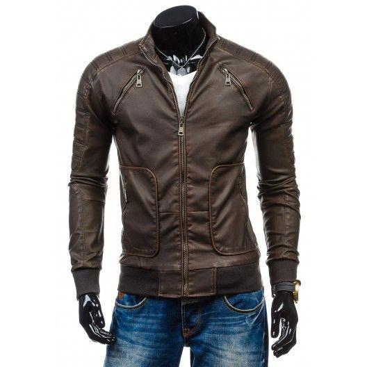 Kožená bunda pre mužov tmavo hnedej farby - fashionday.eu