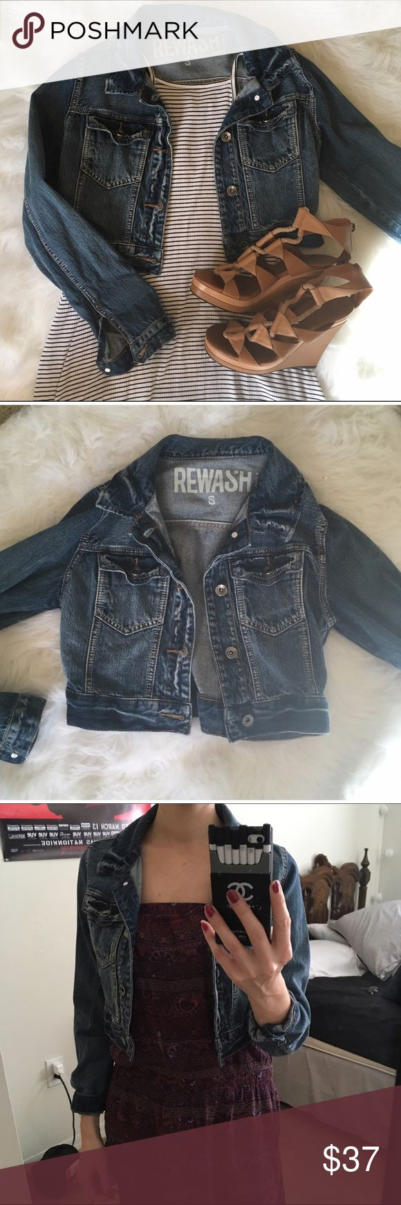 Dark denim jacket Dark denim cropped jacket. Not F21; tagged for exposure. Brand: Rewash. Cute & comfortable! Forever 21 Jackets & Coats Jean Jackets