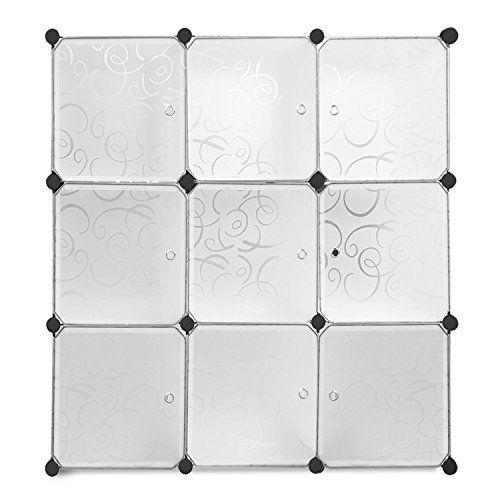 Amzdeal 9 Cubes de rangement Armoire plastique réglable plaque en métal 113*37*113cm (Blanc): Capacité considérable: La dimension de…