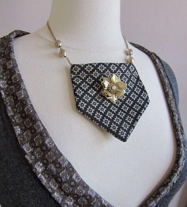 recycled necktie statement necklace