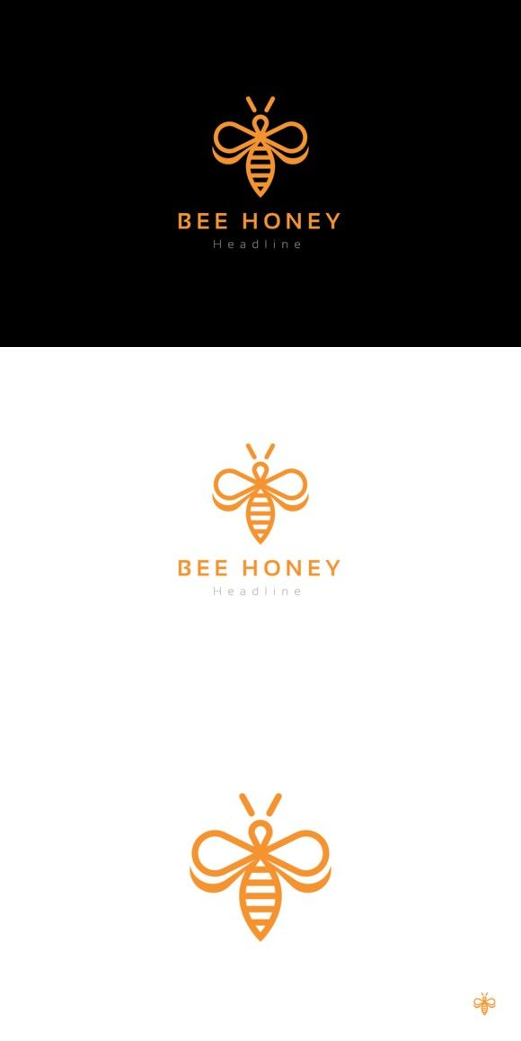 Bee honey logo template.