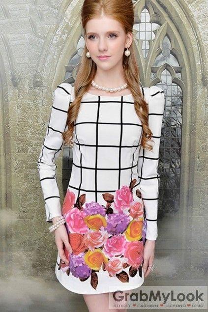GrabMyLook  Checkers Plaid Long Sleeves Vintage Floral Print Dress Skirt