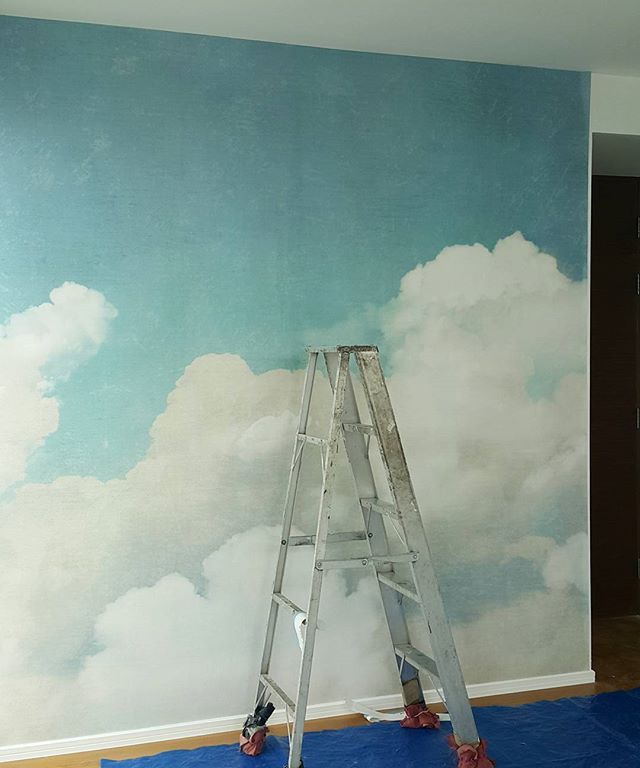 "Installing ""CLOUDS"" today. ☁☁☁☁ #pinpinabkk #rebelwalls #kidsroom #homedecor"