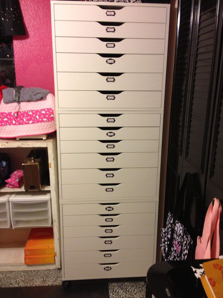 "Ikea ""ALEX"" is the name of the storage unit.  I stacked three together! LOVE IT!!"