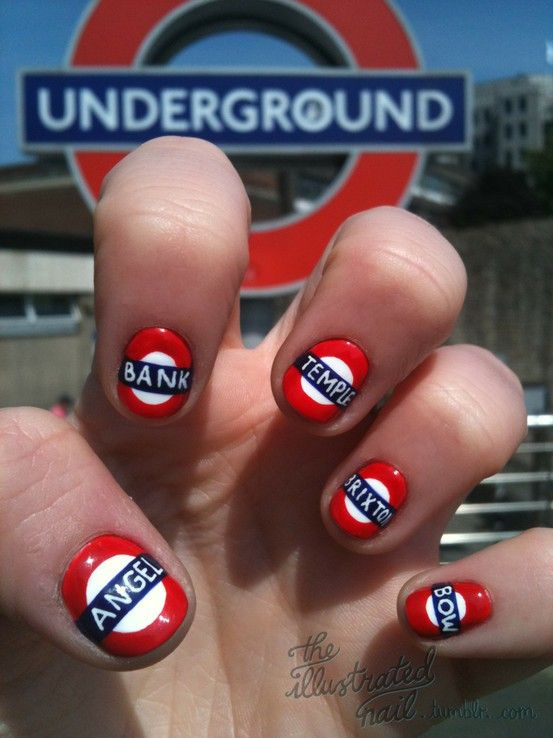 London + Olympic-Inspired Nail Art! Some are cool, some are just creepy but all are very creative (: