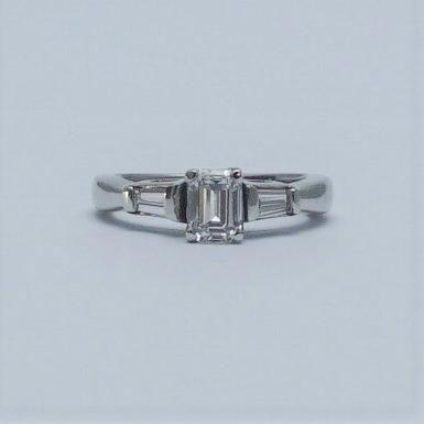 Contemporary Diamond Solitaire Platinum Engagement Ring