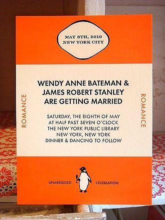 penguin classic wedding invite