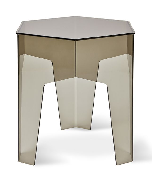 Hive End Table is crafted from four sections of smoke colored acrylic. It is a simple, yet visually striking accent piece. All table edges are flame-polished for a smooth finish. Group several tables together to form a versatile coffee table.
