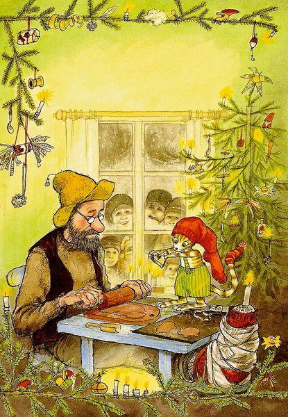 Petersson kriegt Weihnachtsbesuch Illustration von Sven Nordqvist