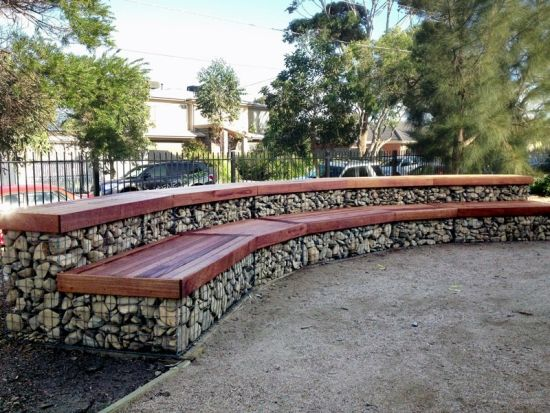 Gabion bench Deck Pinterest