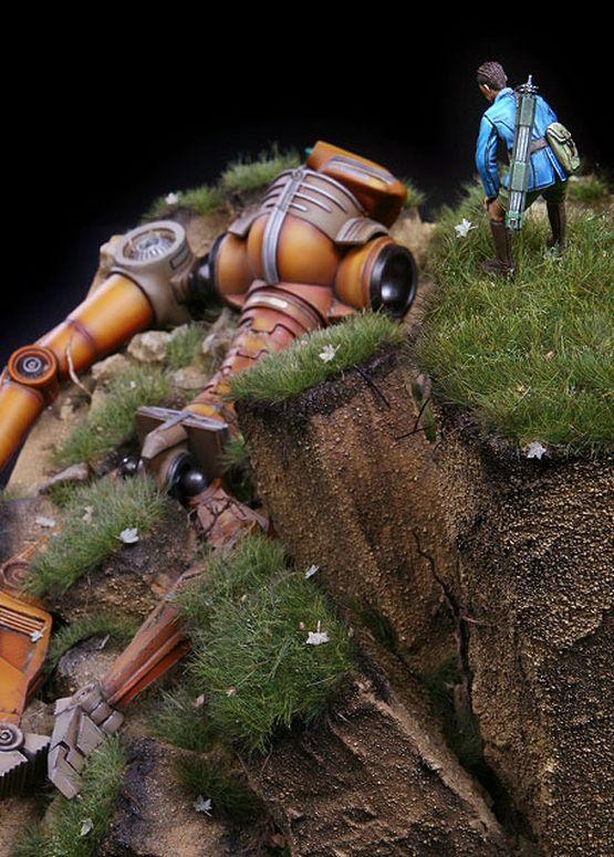 Futuristic Robot scale model. Titled: Vincent's Grave by Marcel du Long. #robot…