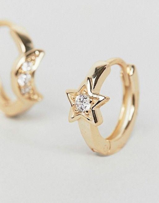 16b2fac72 Shashi | Shashi Sterling Silver 18K Gold Plated Moon Star Huggie Hoop  Earrings