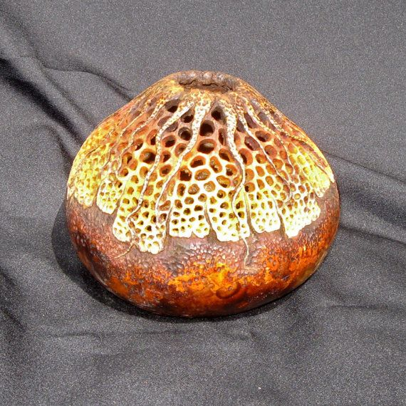 Filigree along with just a hint of the star burst design make up the carving on this gourd. In rich tones of brown and orange.