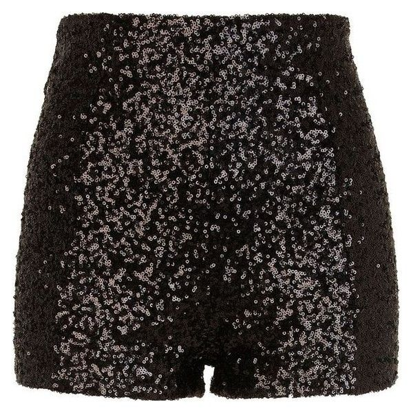River Island Black sequin shorts ❤ liked on Polyvore featuring shorts, disco shorts, river island, high waisted sequin shorts, high-waisted shorts and rock-revival shorts