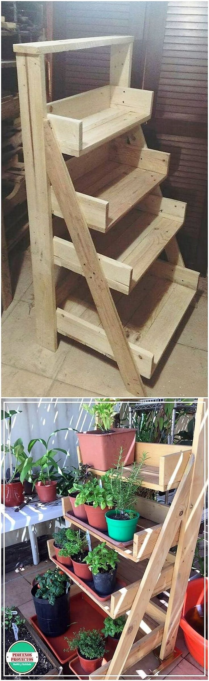 If you have been thinking around settling the planter pot stand in your house custody, then having a piece of wood pallet crafted pot stand is the ideal option for you. This creation has been majestic set with the vertical arrangement of the planter shelves that are looking so awesome.