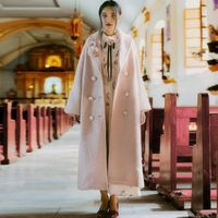 [AIGYPTOS-PTER] Оригинальный Дизайн Осень Зима Женщины Старинные Романтические Элегантные Дамы Розовый Плюс Размер Свободные Длинные Макси Шерстяное Пальто