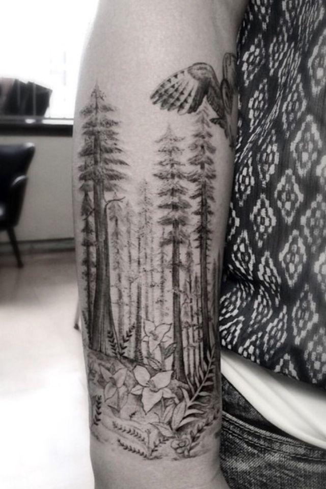 Tattoo idea #tree #forest #tattoo #sleeve