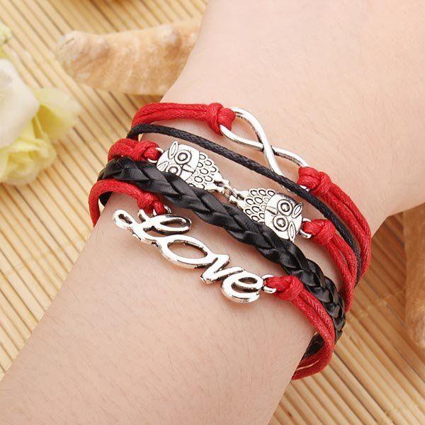 Owl Love Letter Multilayers Bracelet Infinite Symbol Leather Bracelet - US$2.49